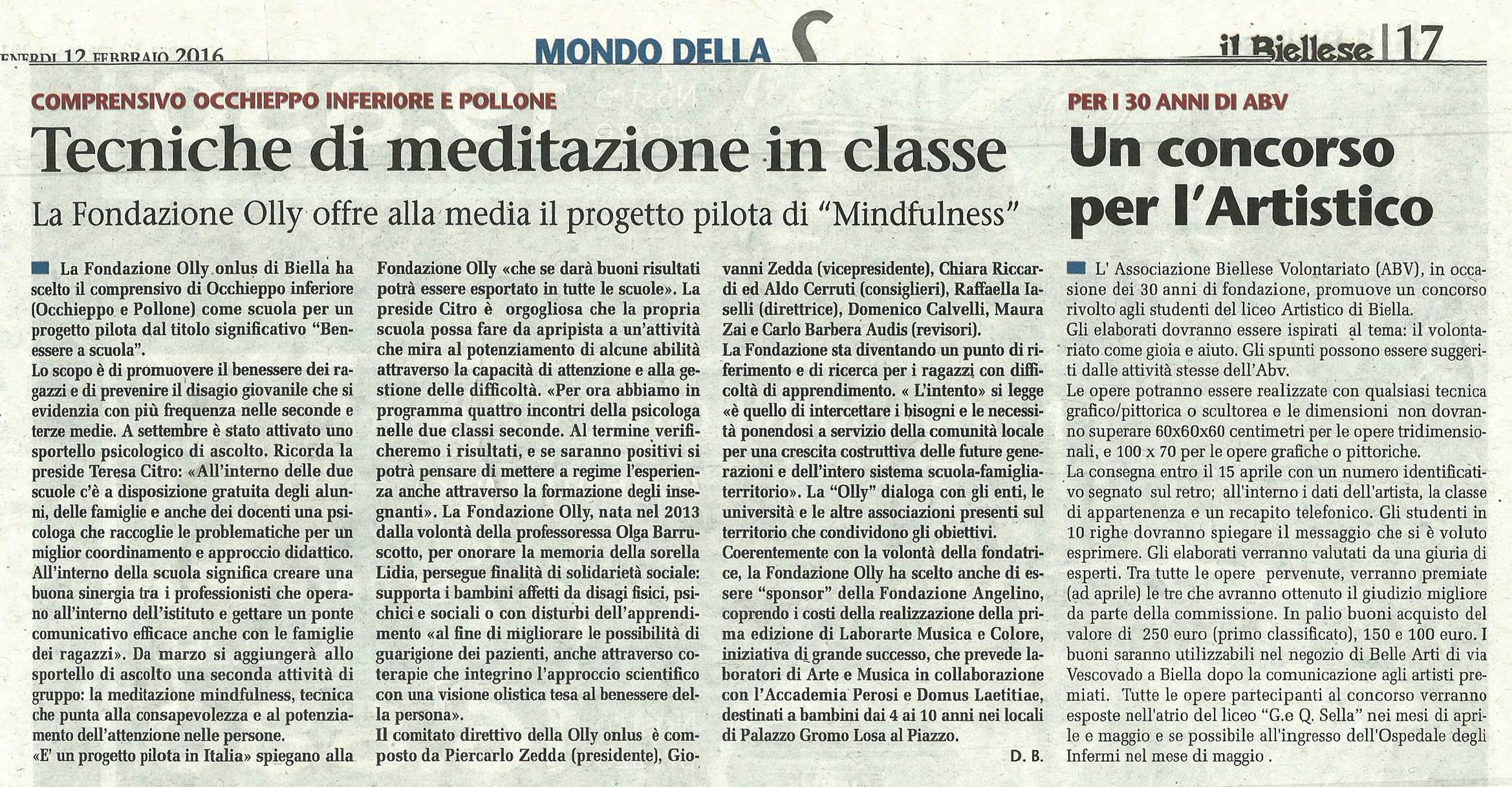 Articolo Il Biellese 12.02.2016