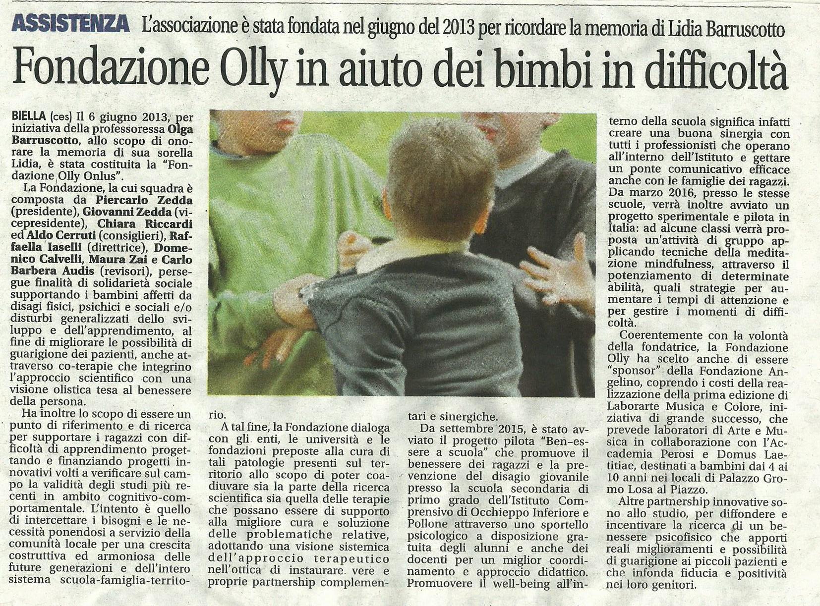 Articolo La Nuova Provincia di Biella 10.02.'16