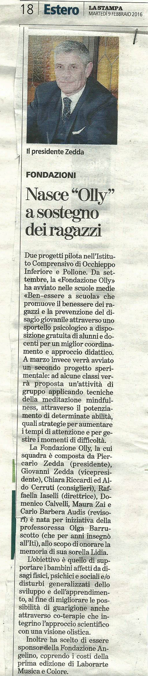 Articolo La Stampa 9.02.'16